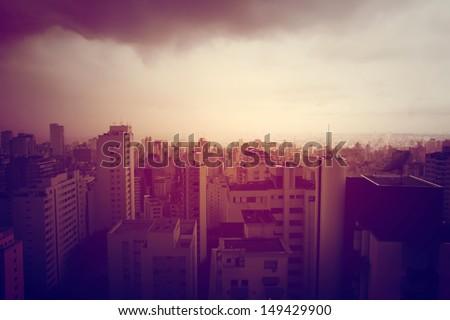 Pollution over Sao Paulo, Brazil, South America. Retro style image. - stock photo