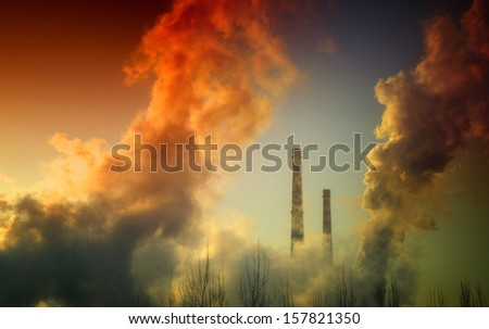 Pollution | Power Plant - stock photo