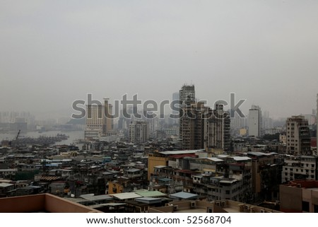Pollution Problem in China with Chinese City View - stock photo