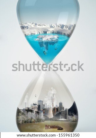 Pollution, save earth, eco concept in hourglass. - stock photo