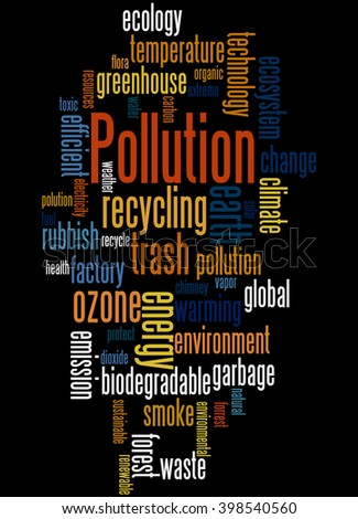 Pollution, word cloud concept on black background.