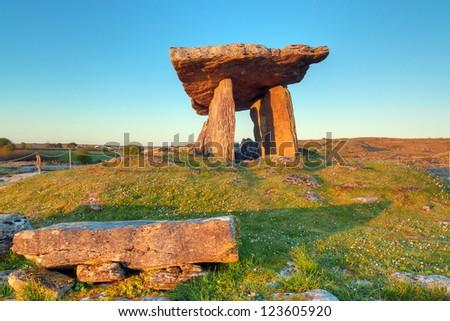 Polnabrone Dolmen in Burren, Co. Clare - Ireland - stock photo