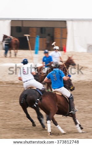 Polo beach cup, an experiment of Polo sport played in the beach  - stock photo