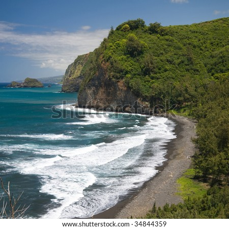 Pololu Valley and its black sand beach on the Northern tip of Hawaii's Big Island.