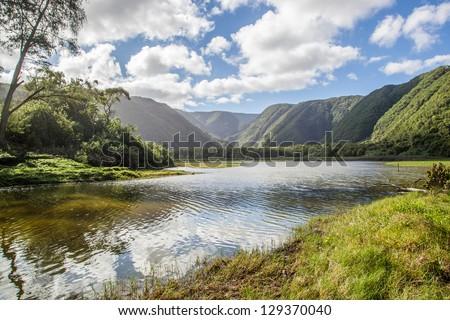 Pololu Valley in Big Island, Hawaii - stock photo