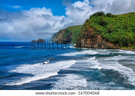 Pololu Valley view in Big island, Hawaii - stock photo