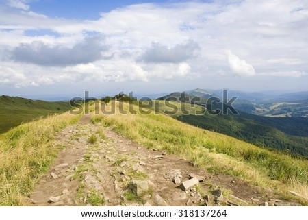 Polonina Wetlinska (Carpathian mountain pasture) in Bieszczady Mountains, Poland
