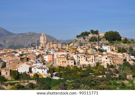 Polop Skyline and Castle an ancient town in the community of Valencia in the province of Alicante Spain Europe Mediterranean City Skyline