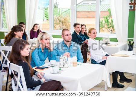"""POLTAVA, UKRAINE - 13 MARCH 2016: presentation of wedding business professionals, """"Yes, I do."""" The presentation was attended by about 30 participants. - stock photo"""