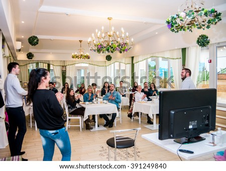 "POLTAVA, UKRAINE - 13 MARCH 2016: presentation of wedding business professionals, ""Yes, I do."" The presentation was attended by about 30 participants."