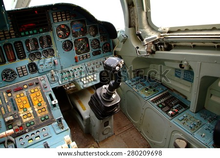 POLTAVA, UKRAINE - MAY 20: Tupolev Tu-160 cockpit at Poltava Aviation Museum on May 20, 2015 in Poltava, Ukraine. The Tupolev Tu-160 is a supersonic, variable-sweep wing heavy strategic bomber.