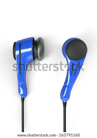 polycarbonate headphones, blue colored - stock photo