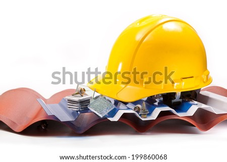 Polycarbonate roof in different shapes and colors, screws and a yellow hard hat on a white background - stock photo