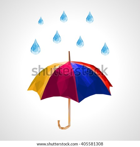 polygon set of umbrella and rain drops for weather forecast blue - stock photo