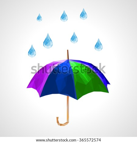 polygon set of umbrella and rain drops for weather forecast green - stock photo