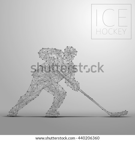 Polygonal abstract ice hockey player. Hockey players from futuristic shape. Thin line cybernetic style of sportsmens silhouette. Body energy low poly sports man in motion. Raster copy of file - stock photo