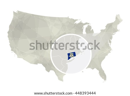 Polygonal abstract USA map with magnified Connecticut state. Raster copy.