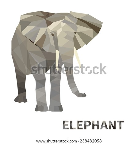 Polygonal elephant. Isolated on white background.  - stock photo