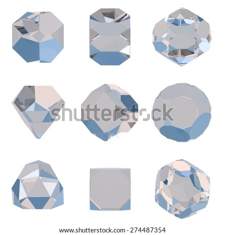 Polygonal geometric diamonds. Set of different design elements