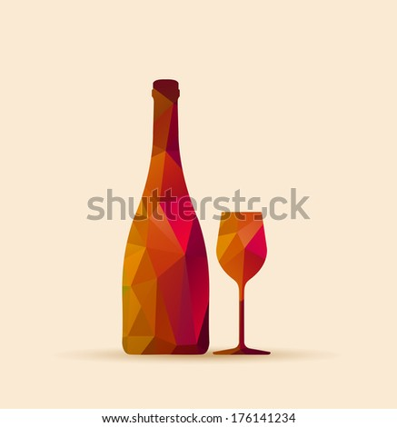 polygonal glass and bottle - illustration