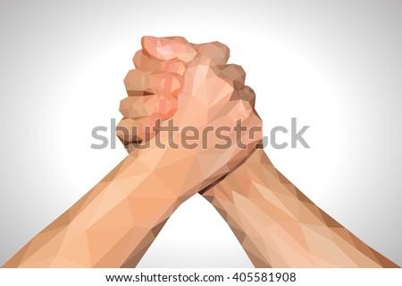 polygonal hand handshake friendly arm wrestling fist up on white - stock photo