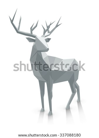 Polygonal illustration. Low poly deer, with space for text. Stag as graphic element for Christmas designs. - stock photo