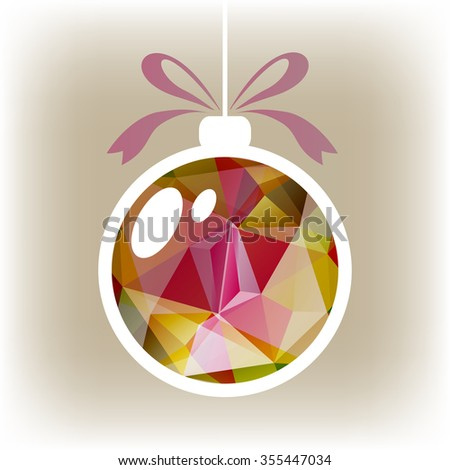 Polygonal isolated Christmas ball with purple and green triangles. - stock photo