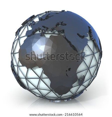 Polygonal style illustration of earth globe, Europe and Africa view