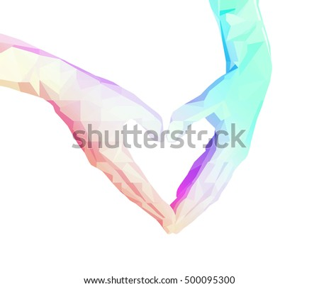 polygonal two hands folded in the form of heart. low poly human hand isolate on a white background