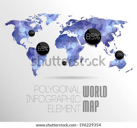 Polygonal World Map and Information Graphics. World Map and typography - stock photo