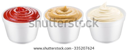 Polystyrene cups with different sauces. File contains three clipping paths. - stock photo