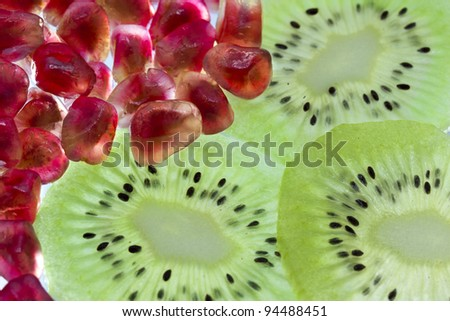Pomegranate and kiwi