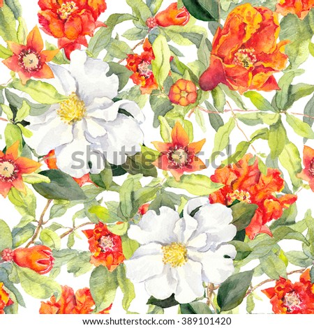 Pomegranate blossom and white camellia flowers. Seamless floral pattern. Vintage watercolor background - stock photo