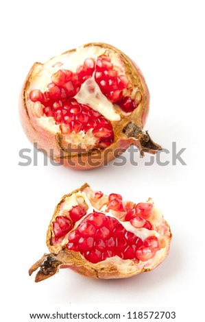 pomegranate fruits on a white background