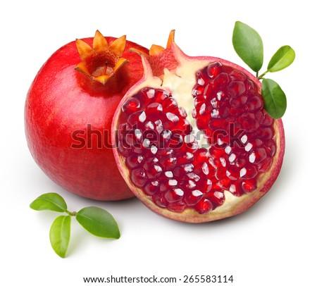 Pomegranate isolated on white background - stock photo