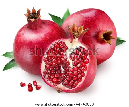 Pomegranate on a white background - stock photo