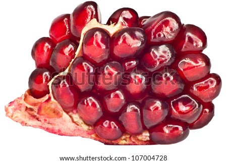 pomegranate on a white background. macro