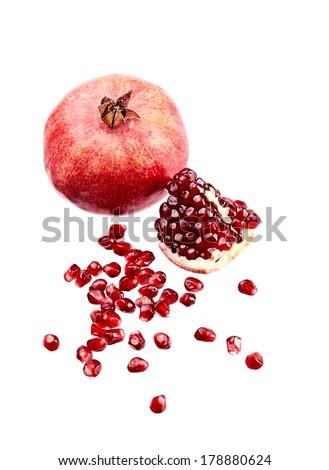 pomegranate on white isolated - stock photo