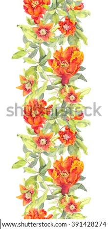 Pomegranate red flowers. Repeating floral frame. Watercolor stripe - stock photo