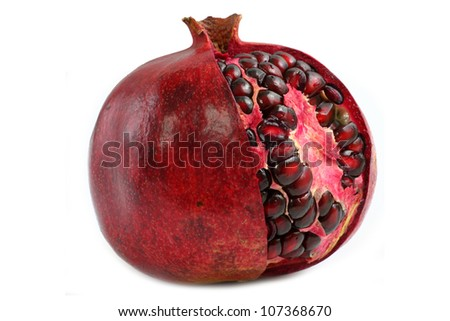 pomegranate red on a white background