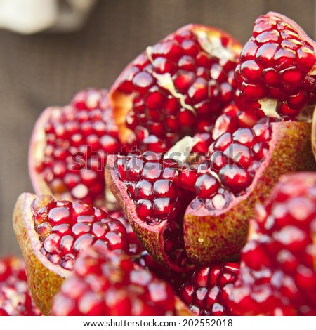 Pomegranate slices and seeds - stock photo