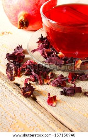 pomegranate tea . Red tea. - stock photo