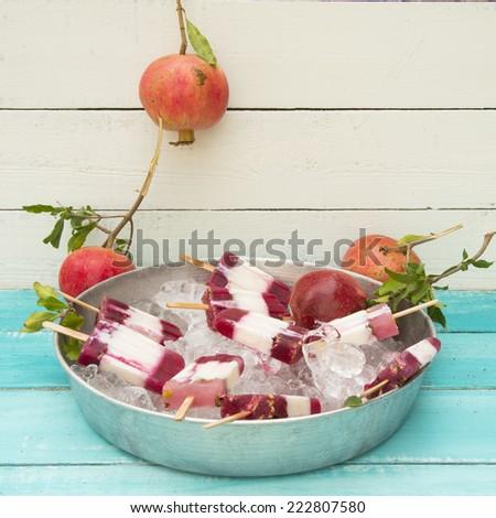 pomegranate yogurt popsicle - stock photo