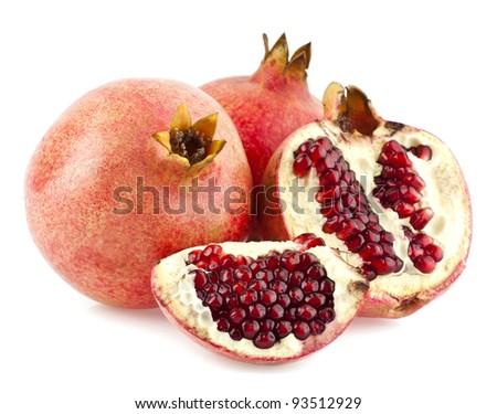 pomegranates isolated on a white background - stock photo