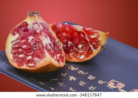 Pomegranates on a Chinese plate