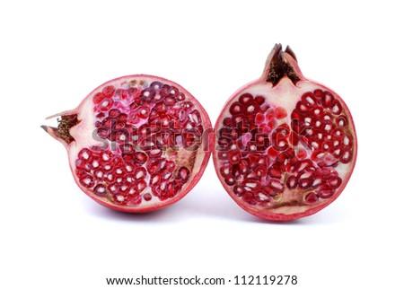 pomegranates on white background - stock photo