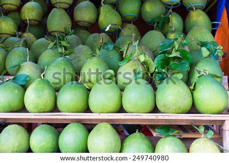 Pomelo, tropical fruit displayed at Vinh Long fruit market, Mekong delta. The majority of Vietnam's fruits come from the many orchards of the Mekong Delta
