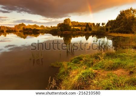 Pomerania, Poland/ Autumn Lake. - stock photo
