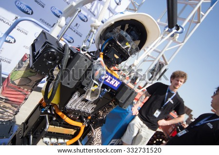 POMONA, CA - JUNE 6: Team THOR from UCLA and University of Pennsylvania present THOR-RD at the DARPA Robotics Challenge in Pomona, CA on June 6, 2015. The academic joint venture's robot finished 13th.