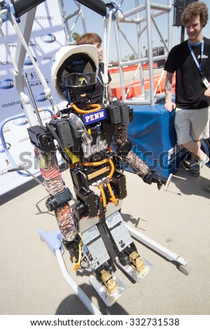 POMONA, CA - JUNE 6: Team THOR from UCLA and University of Pennsylvania present THOR-RD at the DARPA Robotics Challenge in Pomona, CA on June 6, 2015. The academic joint venture's robot finished 13th. - stock photo